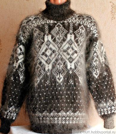 """Пуховый вязаный свитер """"Экстрим"""" ручной работы на заказ"""