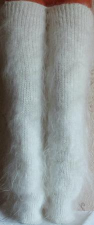 Пуховые белые гетры. ручной работы на заказ