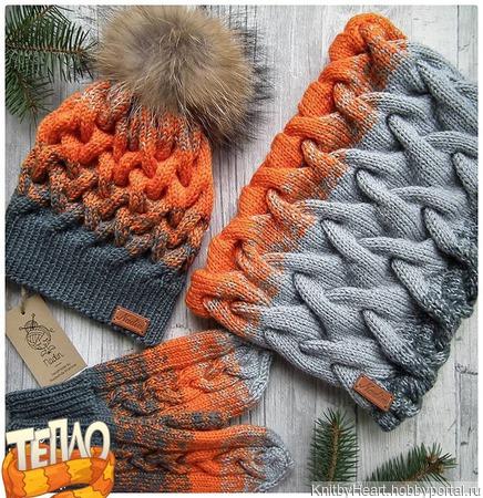 Вязаный комплект женский шапка, снуд и варежки ручной работы на заказ