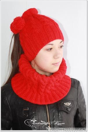 Комплект: снуд и шапка с отверстием для хвоста ручной работы на заказ