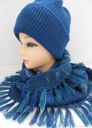 """Комплект вязаный """"Лагуна""""  (шапочка -бини  и шарф-косынка) ручной работы на заказ"""