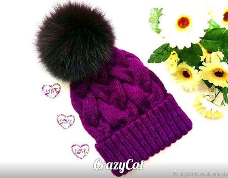 """Шапка вязаная """"Черничное настроение"""", шапка с помпоном, шапка женская ручной работы на заказ"""