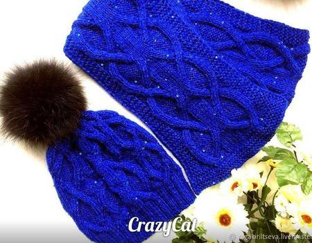 """Комплект вязаный """"Атлантида"""", вязаный комплект, вязаная шапка и шарф ручной работы на заказ"""