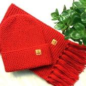 """Комплект вязаный  """"Кармен"""", шарф вязаный, шапка вязаная, комплект"""