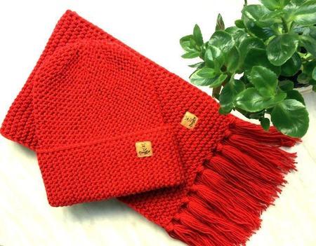 """Комплект вязаный  """"Кармен"""", шарф вязаный, шапка вязаная, комплект ручной работы на заказ"""