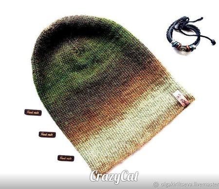 """Шапка вязаная бини """" Nature"""", шапочка бини, шапка женская вязаная ручной работы на заказ"""