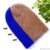 Шапка бини вязаная, шапка-бини вязаная, шапка вязаная, теплая шапка