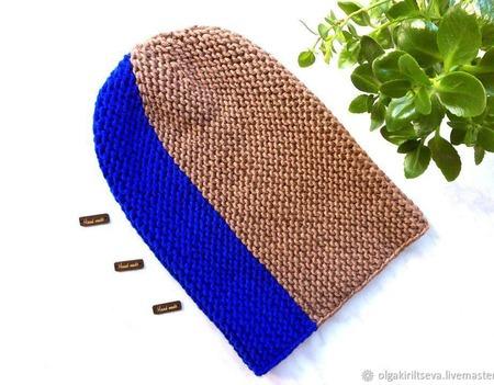 Шапка бини вязаная, шапка-бини вязаная, шапка вязаная, теплая шапка ручной работы на заказ