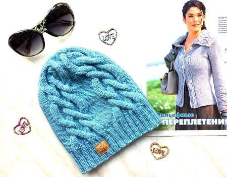 """Шапка вязаная """"Blue dream"""", вязаная шапочка, женская шапка с аранами ручной работы на заказ"""