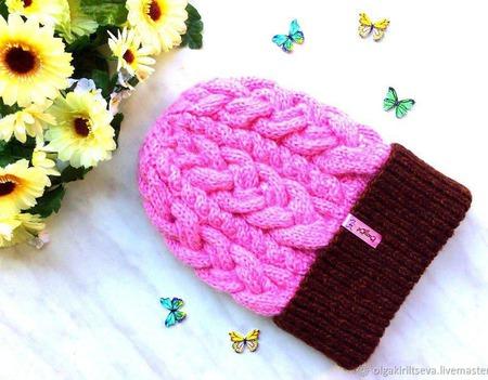 """Шапка вязаная """"Роза в шоколаде"""", шапочка с помпоном, шапка женская ручной работы на заказ"""