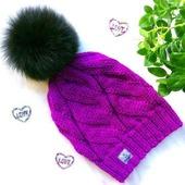 """Шапка вязаная """"Vortex"""", вязаная  шапочка, женская шапка с помпоном."""
