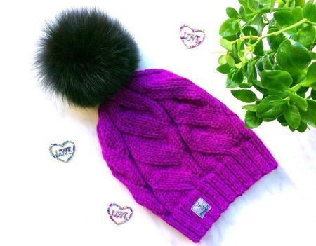 """Шапка вязаная """"Vortex"""", вязаная  шапочка, женская шапка с помпоном. ручной работы на заказ"""
