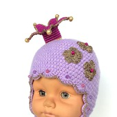 "Вязаная шапочка с короной  ""My Lovely Princess"", шапка с короной"