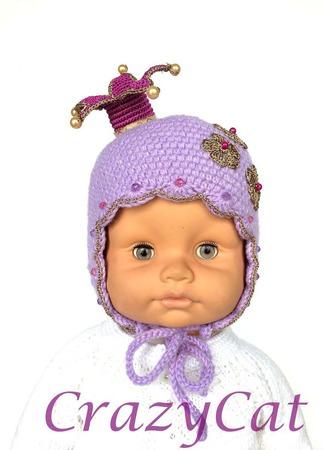 """Вязаная шапочка с короной  """"My Lovely Princess"""", шапка с короной ручной работы на заказ"""