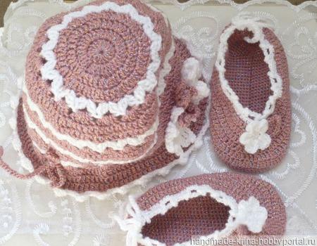 Детский комплект - шапочка и пинетки ручной работы на заказ