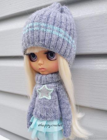 Аутфит Шапка+свитер для куколки Блайз ручной работы на заказ