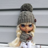 Аутфит Шапка+шарф для куколки Блайз
