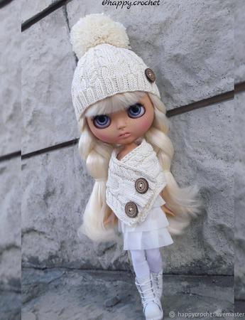 Аутфит Шапка+шарф для куколки Блайз ручной работы на заказ