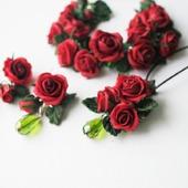 """Комплект украшений """"Красные розы"""", полимерная глина"""