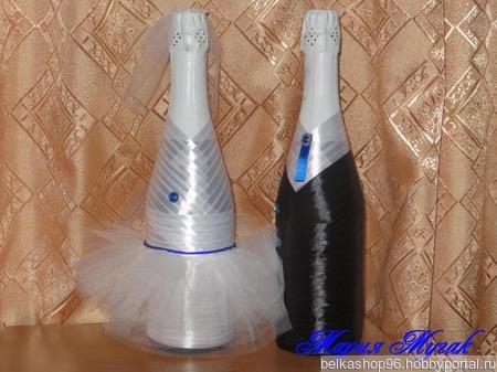 Свадебные бокалы и бутылки ручной работы на заказ