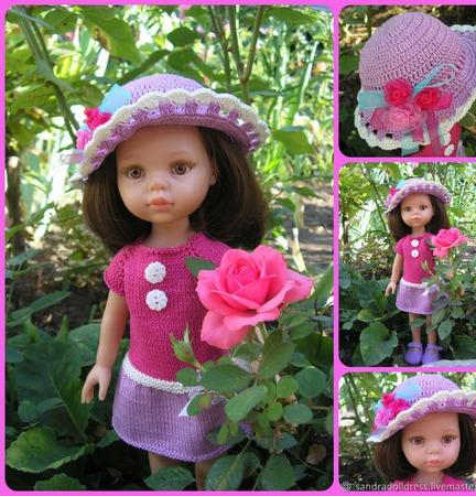 """Одежда  для кукол Паола Рейна. Комплект """"Розы на шляпке"""" ручной работы на заказ"""
