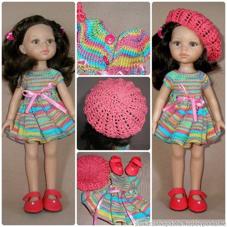 Платье и берет для кукол Паола Рейна ручной работы на заказ