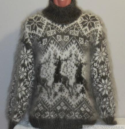 """Пуховый свитер из козьего пуха""""Лапландия"""". ручной работы на заказ"""