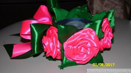 """Резинка на пучок """"Розовые розы"""" ручной работы на заказ"""