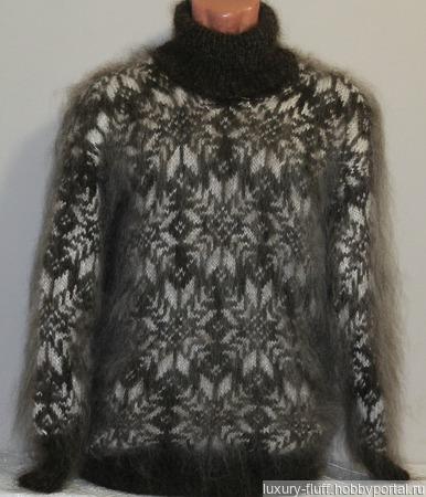 """Пуховый свитер """"Снегопад"""" ручной работы на заказ"""