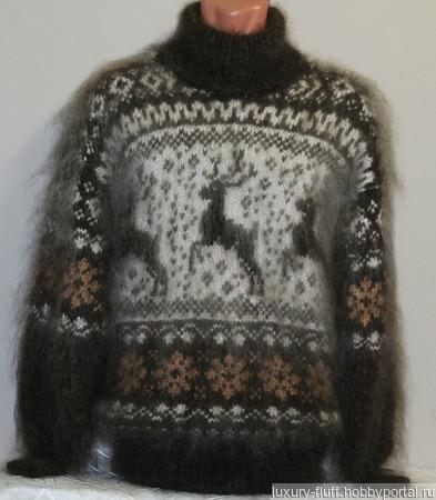 """Пуховый свитер """"Сказочный олень"""". ручной работы на заказ"""