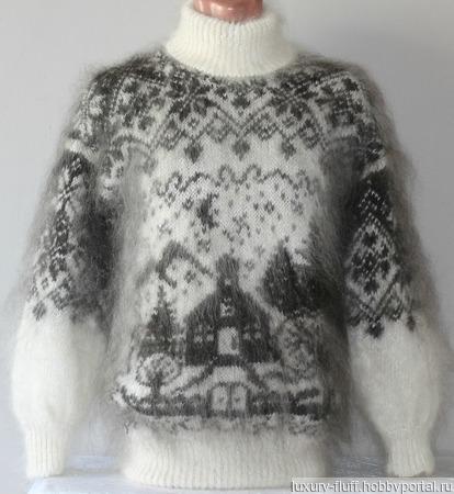 """Пуховый вязаный свитер""""Рождественская сказка"""". ручной работы на заказ"""