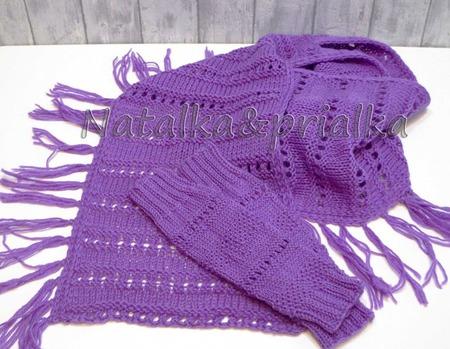 """Комплект """"Крокус"""": шарф и митенки ручной работы на заказ"""