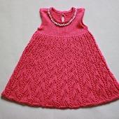 Ажурное платье спицами для девочки 6 — 12 месяцев
