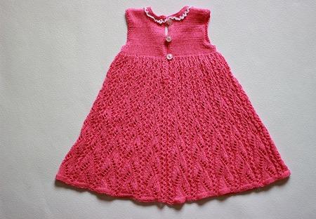 Ажурное платье спицами для девочки 6 — 12 месяцев ручной работы на заказ