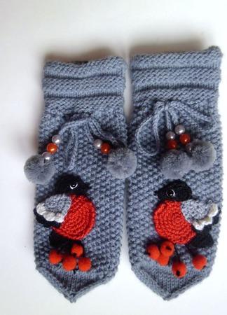 Варежки Снегири ручной работы на заказ