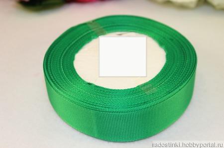 Репсовая лента однотонная 25 мм ручной работы на заказ