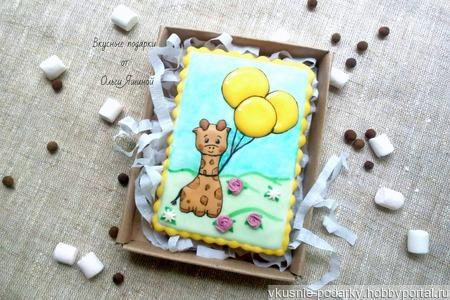 Пряничная открытка с жирафиком ручной работы на заказ