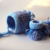 Комплект для новорожденного малыша  вязаный голубой