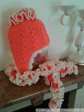 Шапка и шарфик для девочки ручной работы на заказ