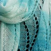 Вязаный  палантин большой шарф вязаный спицами, большой ажурный, Морской.