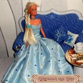 Кукольная одежда 1/6 - Платье бальное голубое (размера Барби)