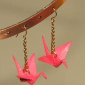 Серьги и клипсы с журавликами-оригами (длинные, с цепочкой)