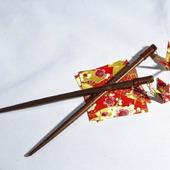 Шпильки-палочки с журавликами-оригами
