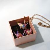 Набор серьги/клипсы + кулон журавлики-оригами (8 видов расцветки)