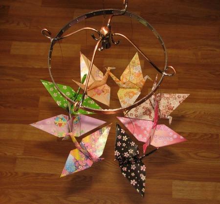 """Поющий ветер """"Журавлики-оригами"""" ручной работы на заказ"""