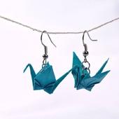 Серьги и клипсы с журавликами-оригами (31 ЦВЕТ!)