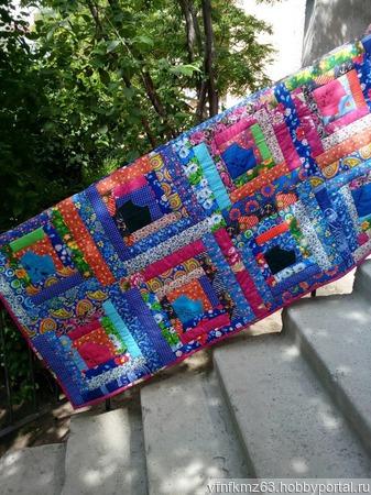 """Лоскутное одеяло """"Коты в домиках"""" ручной работы на заказ"""