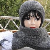 Шапка вязаная бини и шарф.