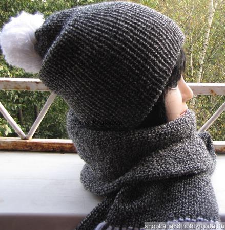 Шапка вязаная бини и шарф. ручной работы на заказ