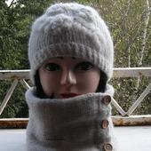 Комплект шапочка и снуд вязаные